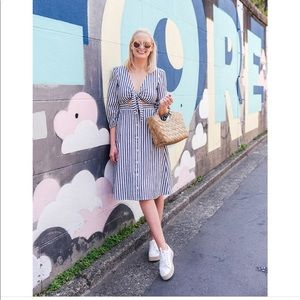 ▪️Madewell▪️Shimmer Stripe Cutout Midi Dress